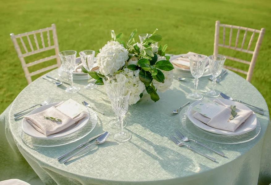 Sage Lennox Linen Rentals Wedding Table Linen Runners Chair Covers Bbj Linen In 2020 Wedding Reception Table Linens Wedding Linens Wedding Table Linens