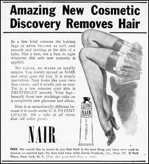 Advertisement with offer for Free Trial of Nair Hair Remover (Carter  Products Inc.): 1 September 1940, featured on page 56 of