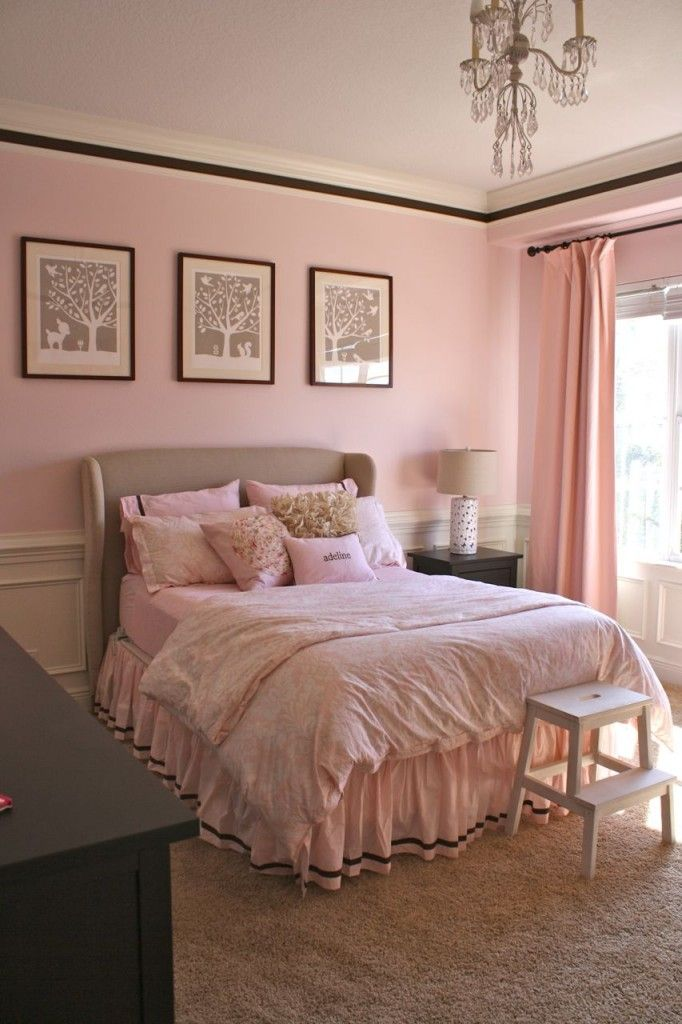 Big girl room in pink white furniture light pink Pink room with white furniture