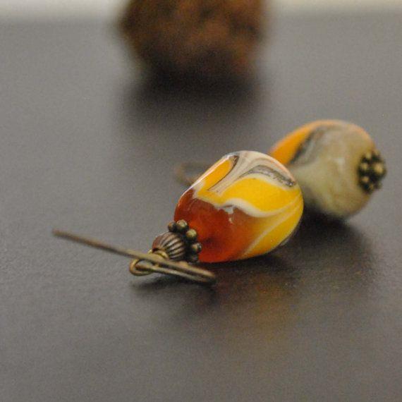 Orange Candy Corn Swirl Lampwork Glass Earrings by bstrung on Etsy, $24.00