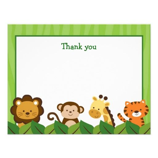 Fresh Safari Jungle Animal Flat Thank You Note Cards | Note cards and Note QO52