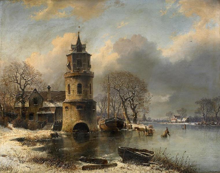 Johannes Bartholomäus Duntze» Wintertag am Kanal aus unserer Rubrik: Gemälde des 19. und frühen 20. Jahrhunderts