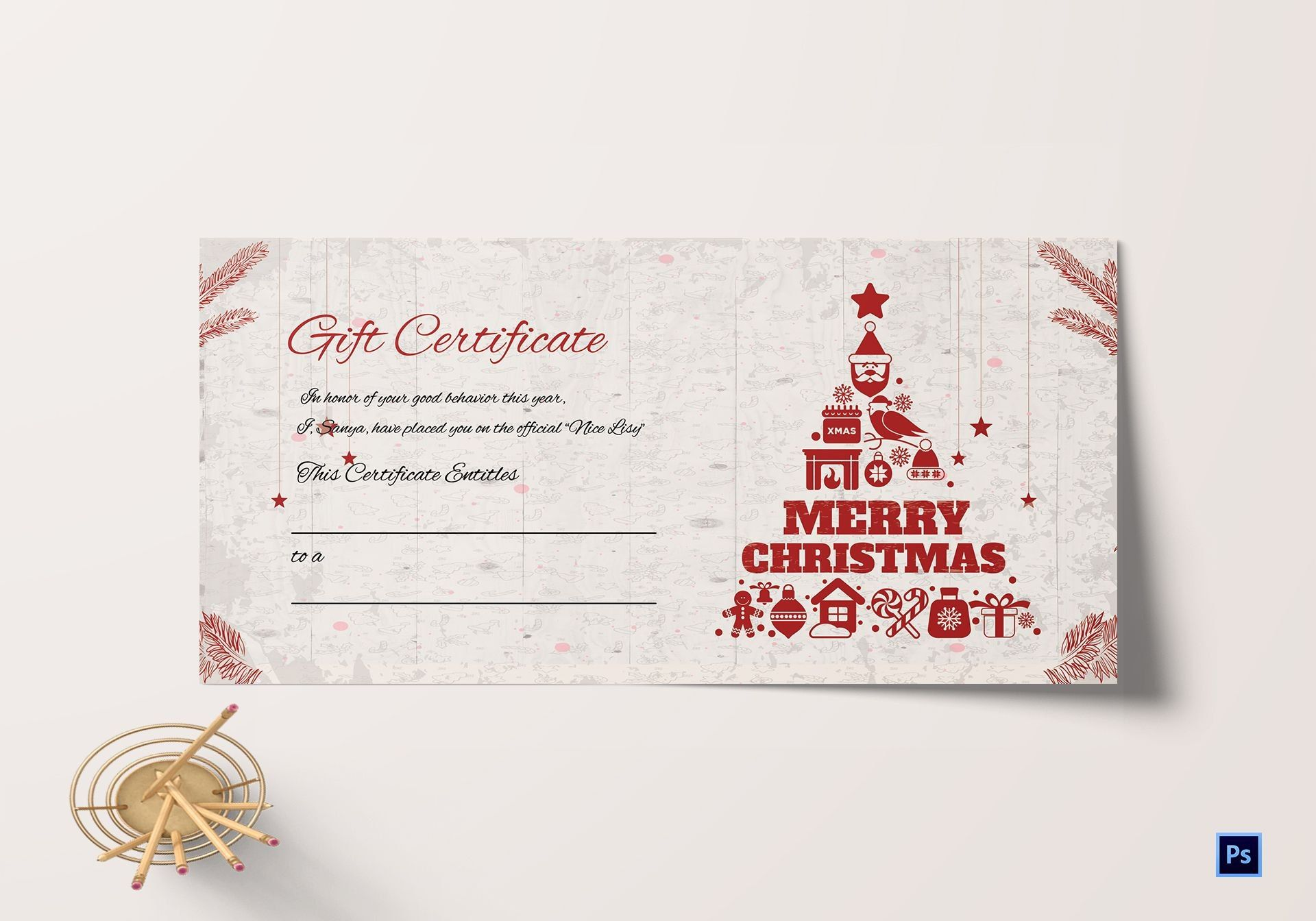 Merry Christmas Gift Certificate Template In Adobe Photoshop With Rega Christmas Gift Certificate Christmas Gift Certificate Template Gift Certificate Template