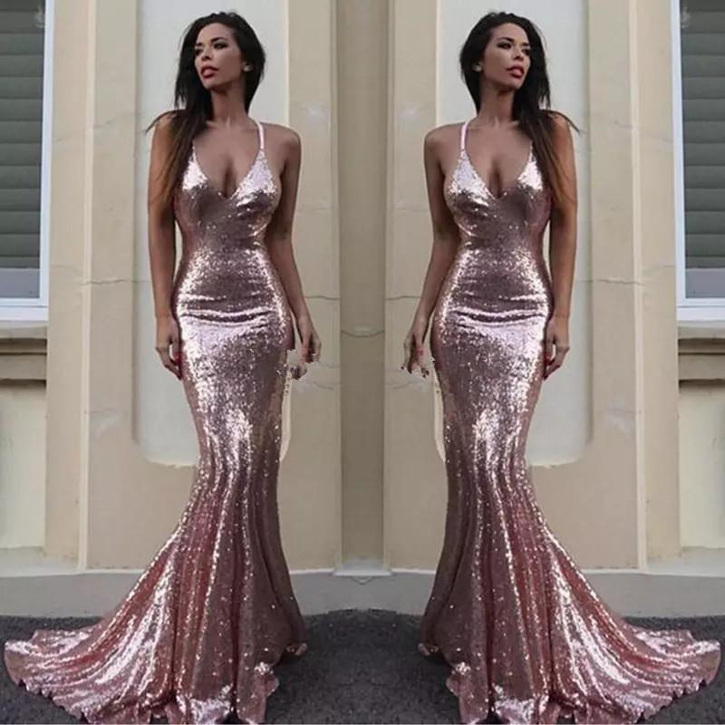 Sparky Rose Gold Sequin Mermaid Evening Dresses Criss Cross Back V ...