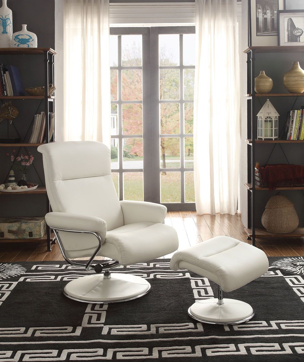 Homelegance Caius White Swivel Reclining Chair With Ottoman Upholstered Swivel Chairs Recliner Chair Swivel Recliner Chairs #swivel #recliner #chairs #for #living #room