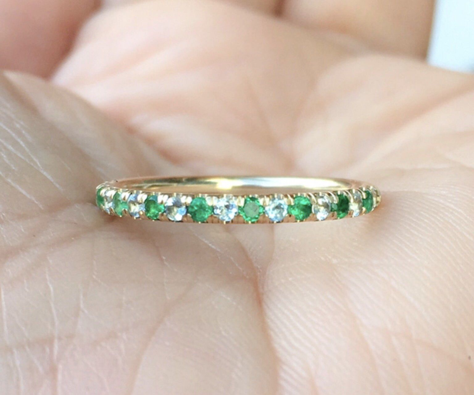 This is a photo of Alternating Eternity Band Emerald Aquamarine Pave Matching Etsy