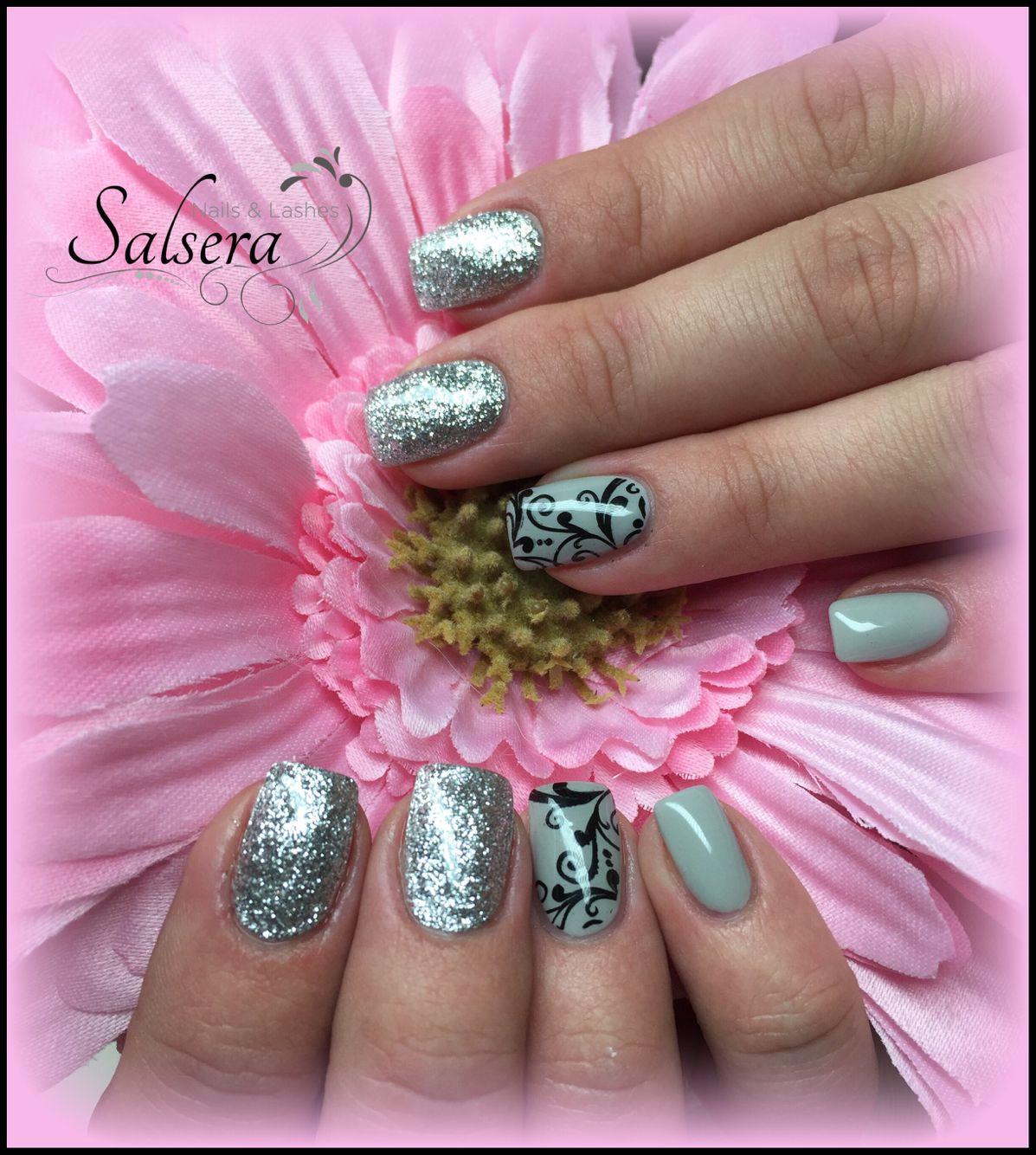 nails n gel nageldesign fullcover silber silver glitter grau grey salsera nails lashes. Black Bedroom Furniture Sets. Home Design Ideas