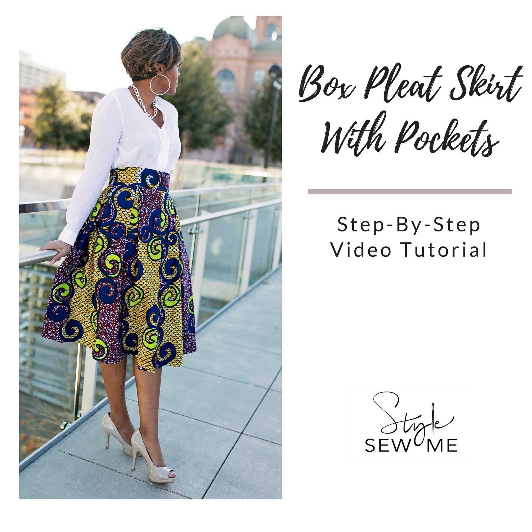 Box Pleat Skirt Tutorial Thumbnail Box Pleat Skirt Pleated Skirt Tutorial Pleated Skirt Pattern
