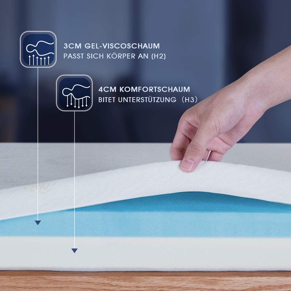 Amazon De Newentor 7cm Gelschaum Topper 180 X 200 Cm Matratzentopper 2 In 1 Viskotopper Gel Memory In 2020 Matratze Matratzen Topper Matratzenauflage