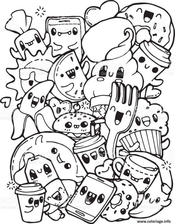 Coloring kawaii pretty food and cute Printable drawing    ...