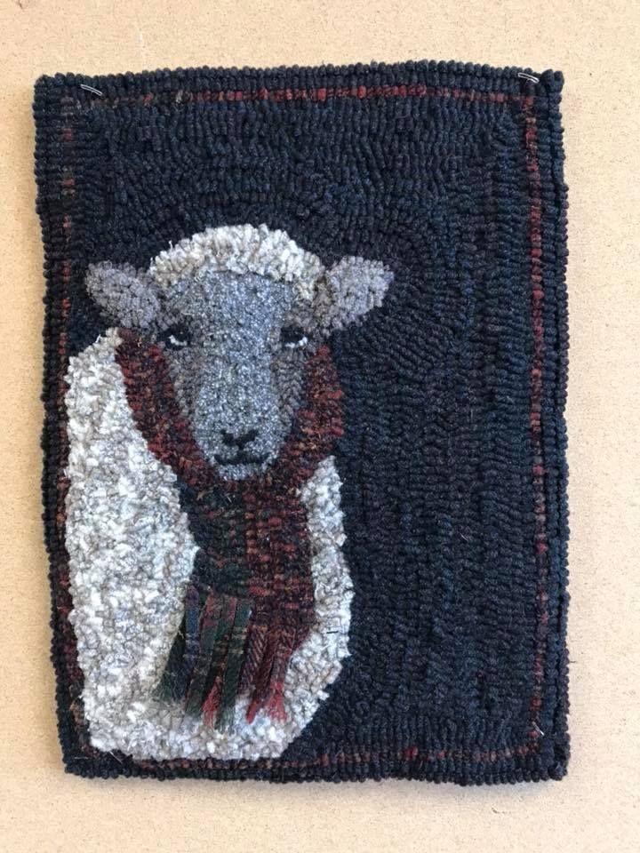 For Ewe hooked by Jo Leedy Ritter Wick. Pattern by Teresa Kogut. #sheep #lamb #winter #rug #wool #hookedrug