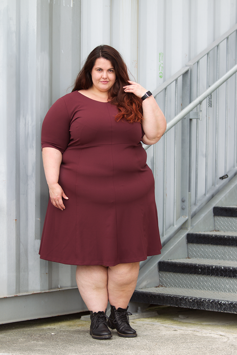 This is meagan kerr wears navabi a line dress in wine plus size