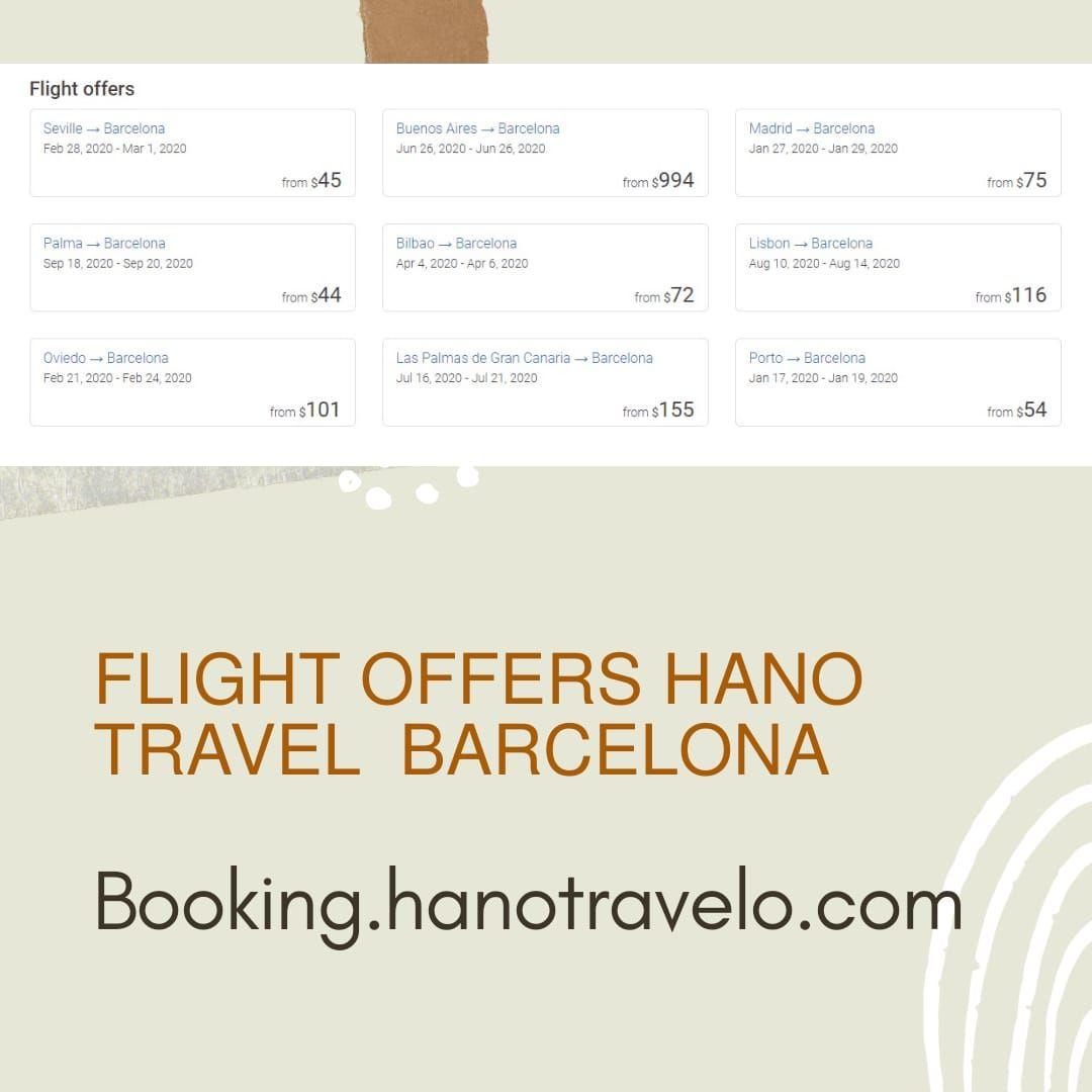 Offers Booking Airline Hano Travel Flight Turisem Trips Hotels In 2020 Flight Offers Flight Barcelona