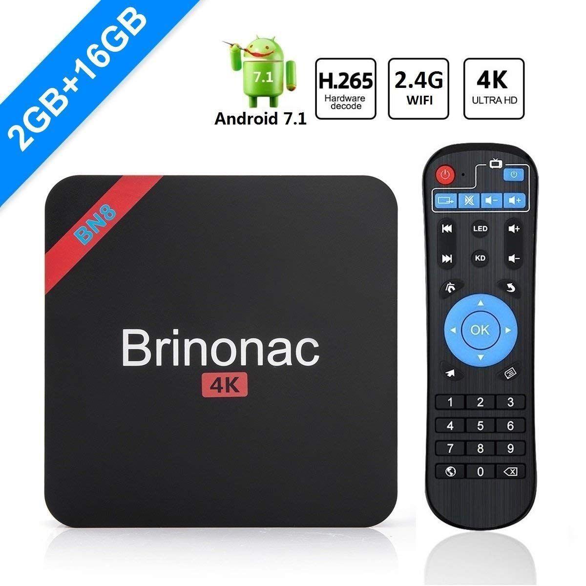 95746d271ba GULEEK BN8 4K HD Smart Android 7.1 TV Box avec Amlogic S905W Quad-core 2 Go  de RAM 16 Go ROM 2.4G Wifi 3D H.265 4K HD Player (2 Go + 16 Go)
