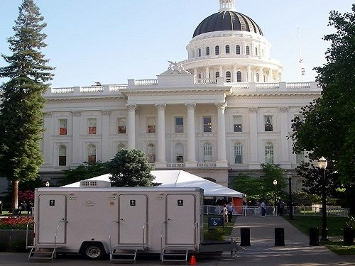 The owners/operators of Royal Restrooms of California give every rental the black tie treatment, whether at the state's capitol or a bride's back yard wedding. Visit RoyalRestrooms.com for nationwide info.  — in Sacramento, CA.
