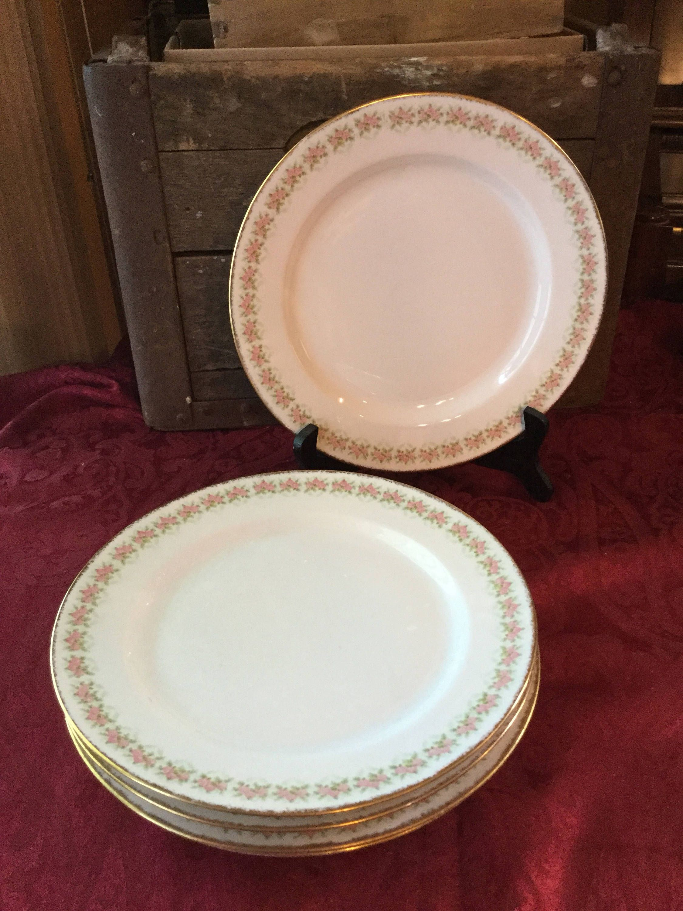 J Pouyat Limoges France Set of 5 Gilded Edge Dinner Plates made for Wanamkers Department Stores & J Pouyat Limoges France Set of 5 Gilded Edge Dinner Plates made ...