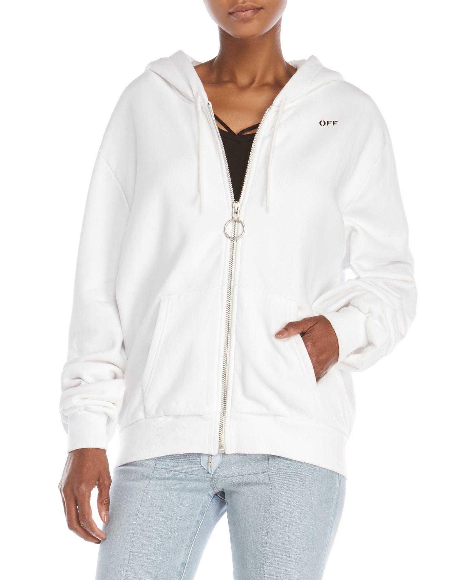3f460f7db30b Off-White C O Virgil Abloh Oversized Zip-Up Fleece Hoodie