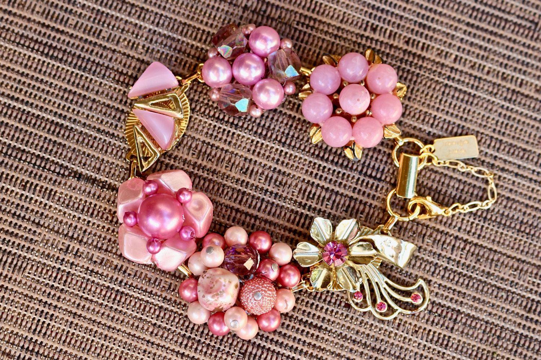 Upcycled Vintage Earring Bracelet, Gift for Her, Bridesmaid gift set, Cluster, Thermoset, Rhinestone, Flower, Jennifer Jones OOAK, Lavender by JenniferJonesJewelry on Etsy