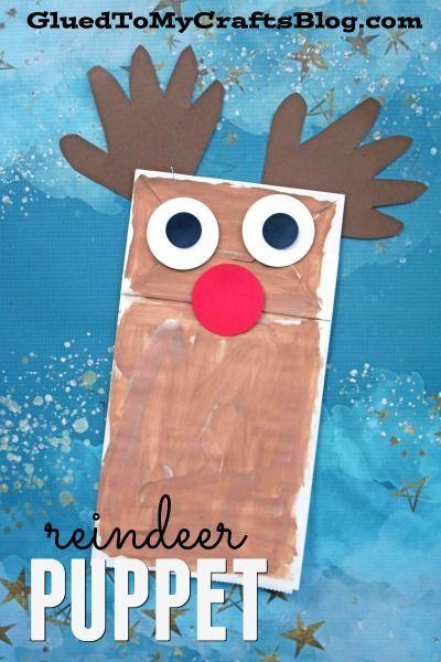 Paper Bag Reindeer Puppet - Christmas Kid Craft Idea - Handprint