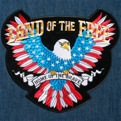 Patriotic Land Of The Free Because Of The Brave Biker Patch