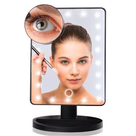 Lighted Makeup Mirrors Touch Screen 20 Leds Square Desktop