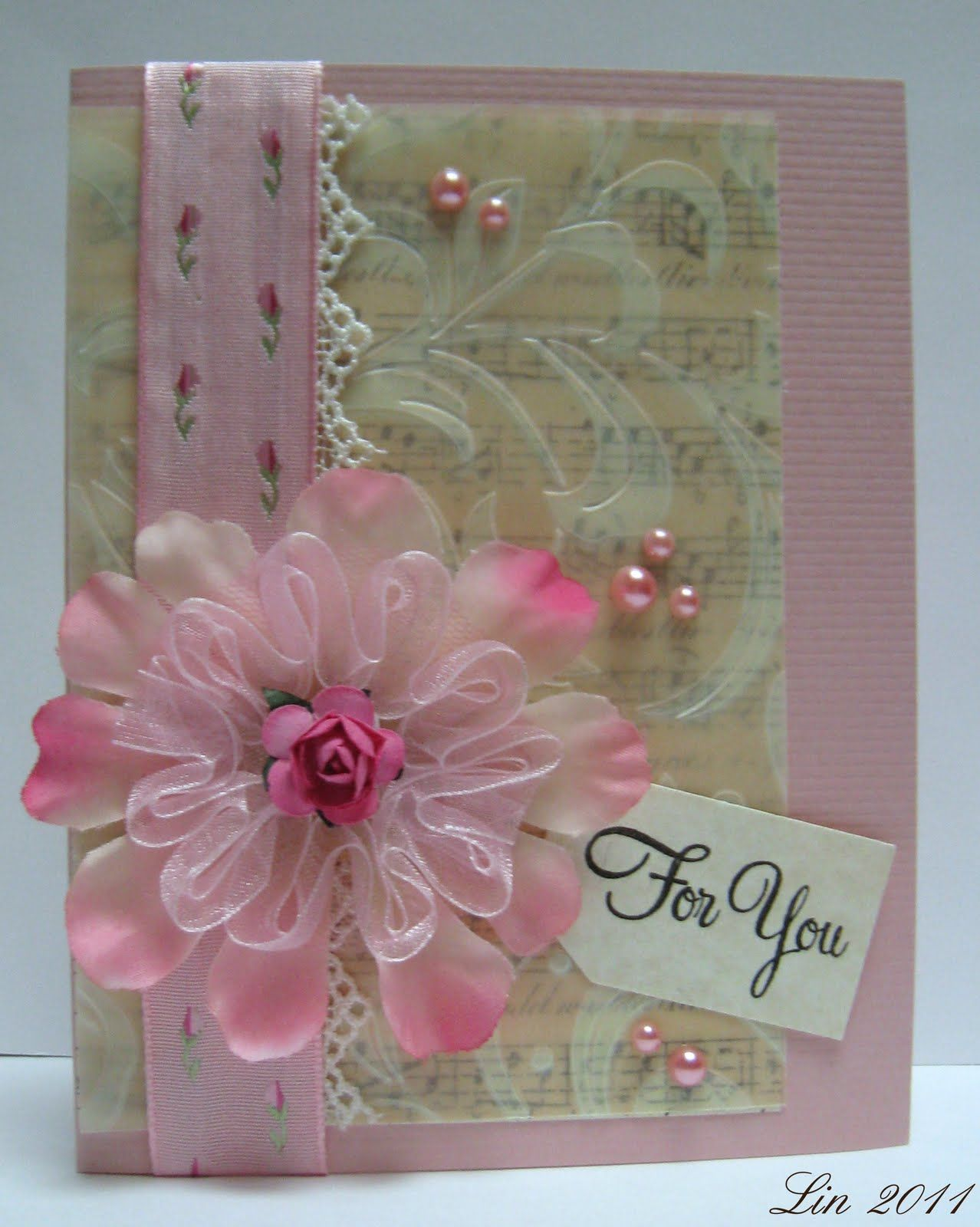 Card Making Ideas Using Vellum Part - 45: Embossed Vellum Card With Pretty Ribbon Technique On Flower