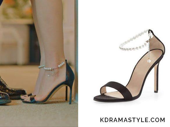 Krystal's Black Heels with Pearl Ankle