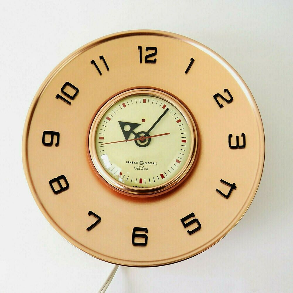 Mcm Copper General Electric 2h101 Telechron 10 Mid Century Modern Wall Clock Telech Mid Century Modern Wall Clock Wall Clock Modern Mid Century Modern Walls