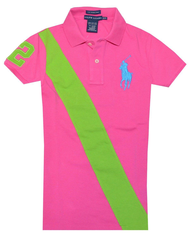96dbec2a835b79 Ralph Lauren Women Skinny Polo Diagonal Stripe Big Pony Logo T-shirt  Chaussures Pour Femmes