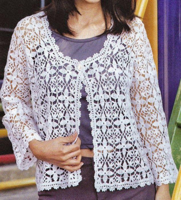 Patrón de saco de dama de verano con ganchillo | crochet sweater ...