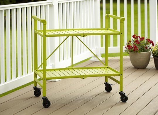 Indoor Or Outdoor Folding, Metal, Rolling Serving Cart,Bright Green