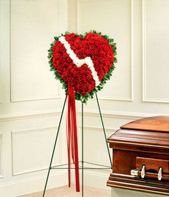 Red White Standing Broken Heart At From You Flowers Funeral Flowers Flowers Flower Arrangements