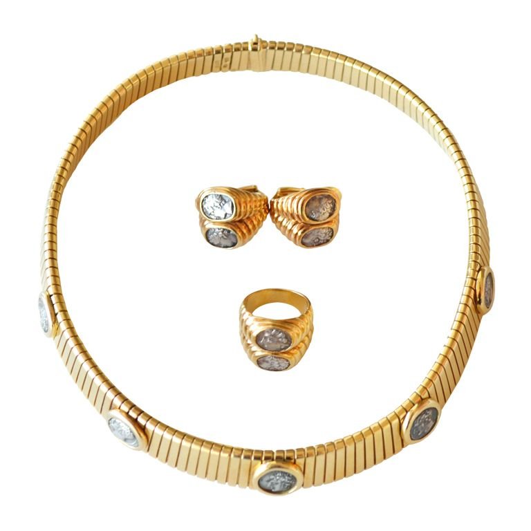 bulgari 5 coin gold necklace 2 coin earrings and ring