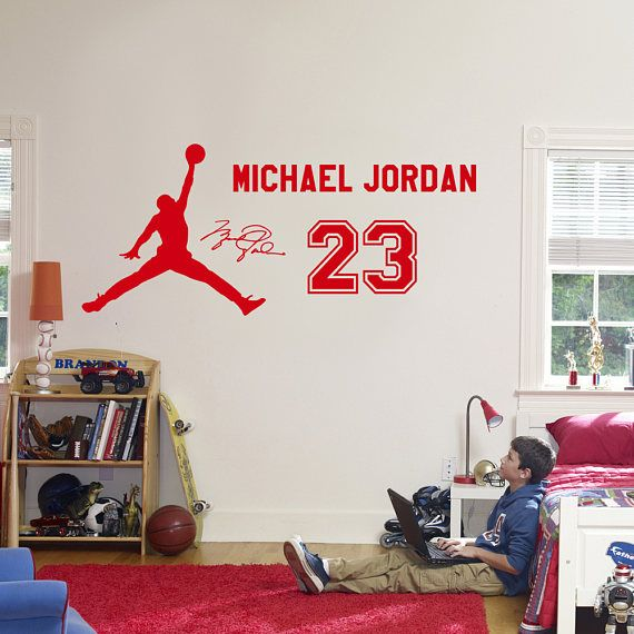 Michael Jordan 23 Wall Decal Vinyl Sticker, Kids Basketball Boys Idol  Poster, Children Bedroom Wall Art Mural DIY Home Decor