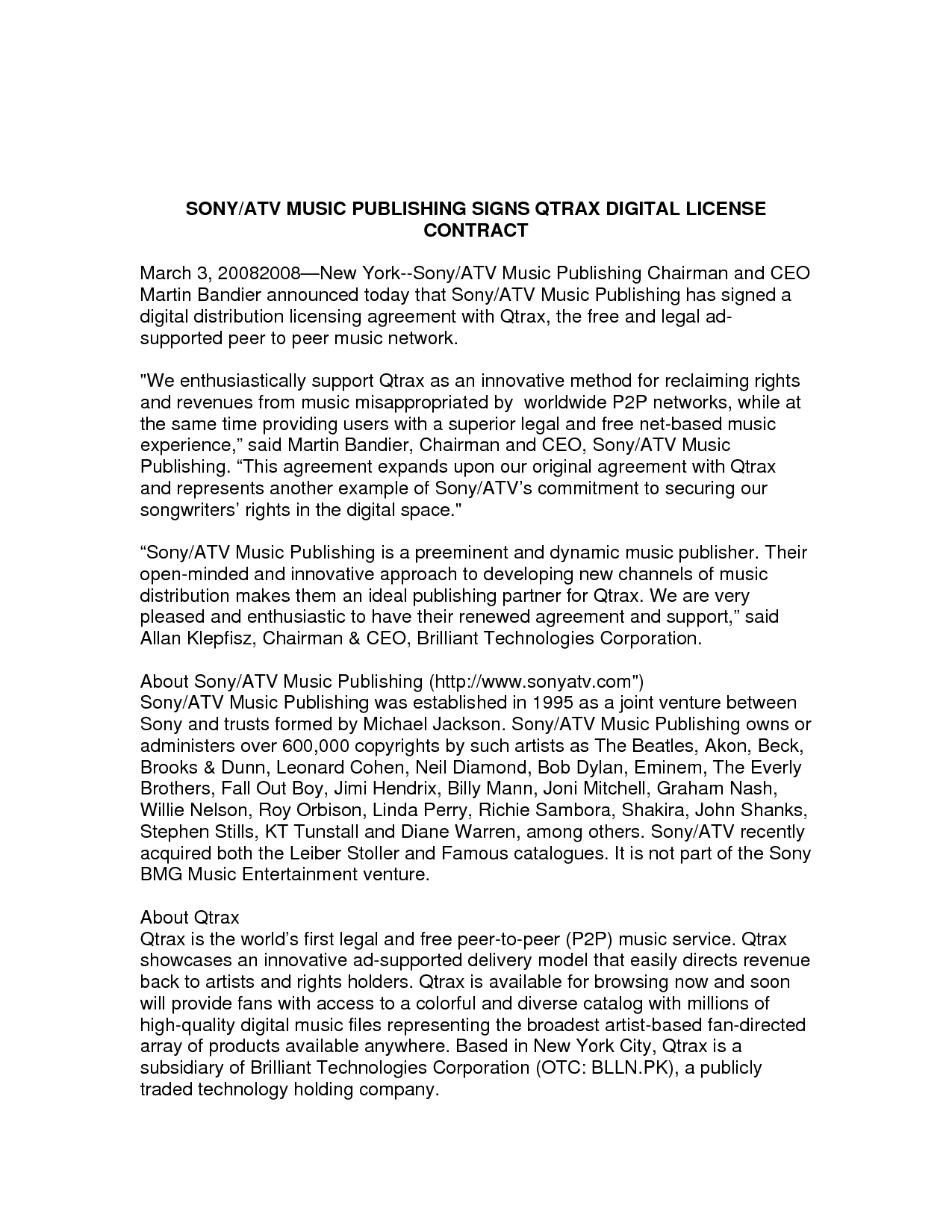 SONY ATV MUSIC PUBLISHING SIGNS QTRAX DIGITAL LICENSE CONTRACT – Music Agreement Contract