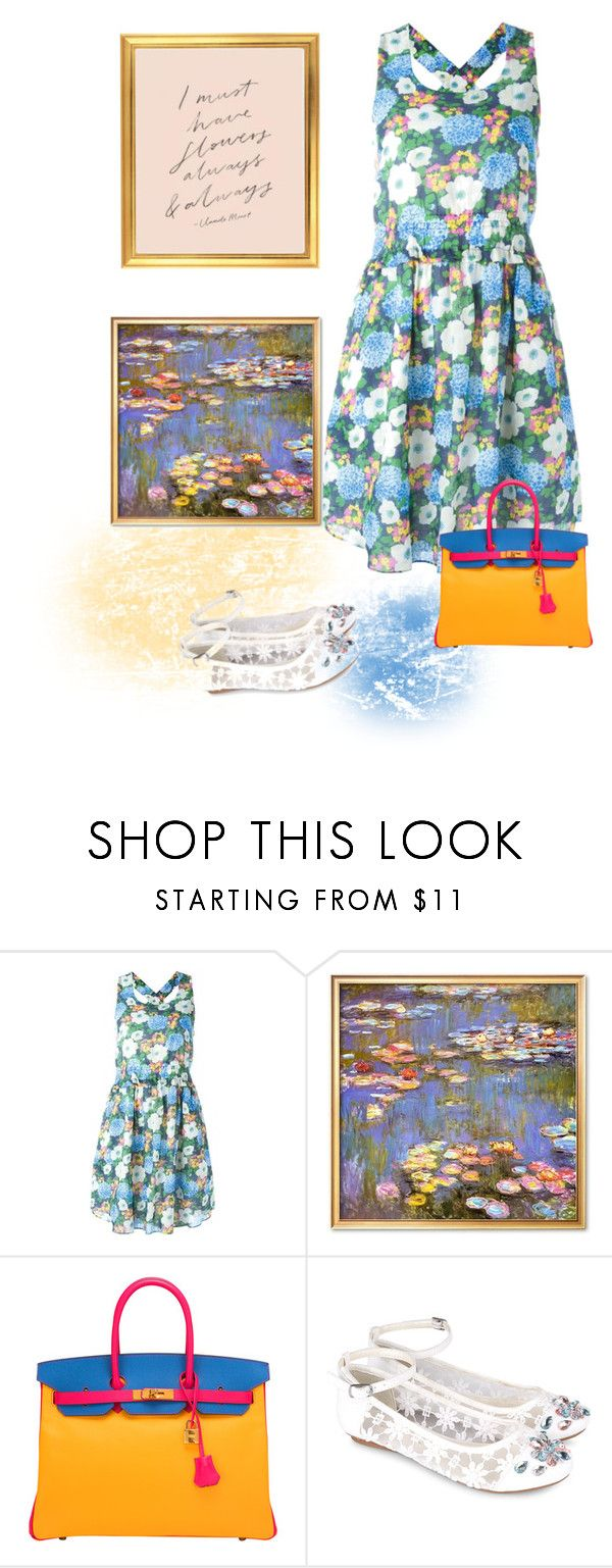 """""""I giardini di Monet"""" by gagenna ❤ liked on Polyvore featuring Carven, Hermès, Monsoon, carven, floraldresses and belk"""