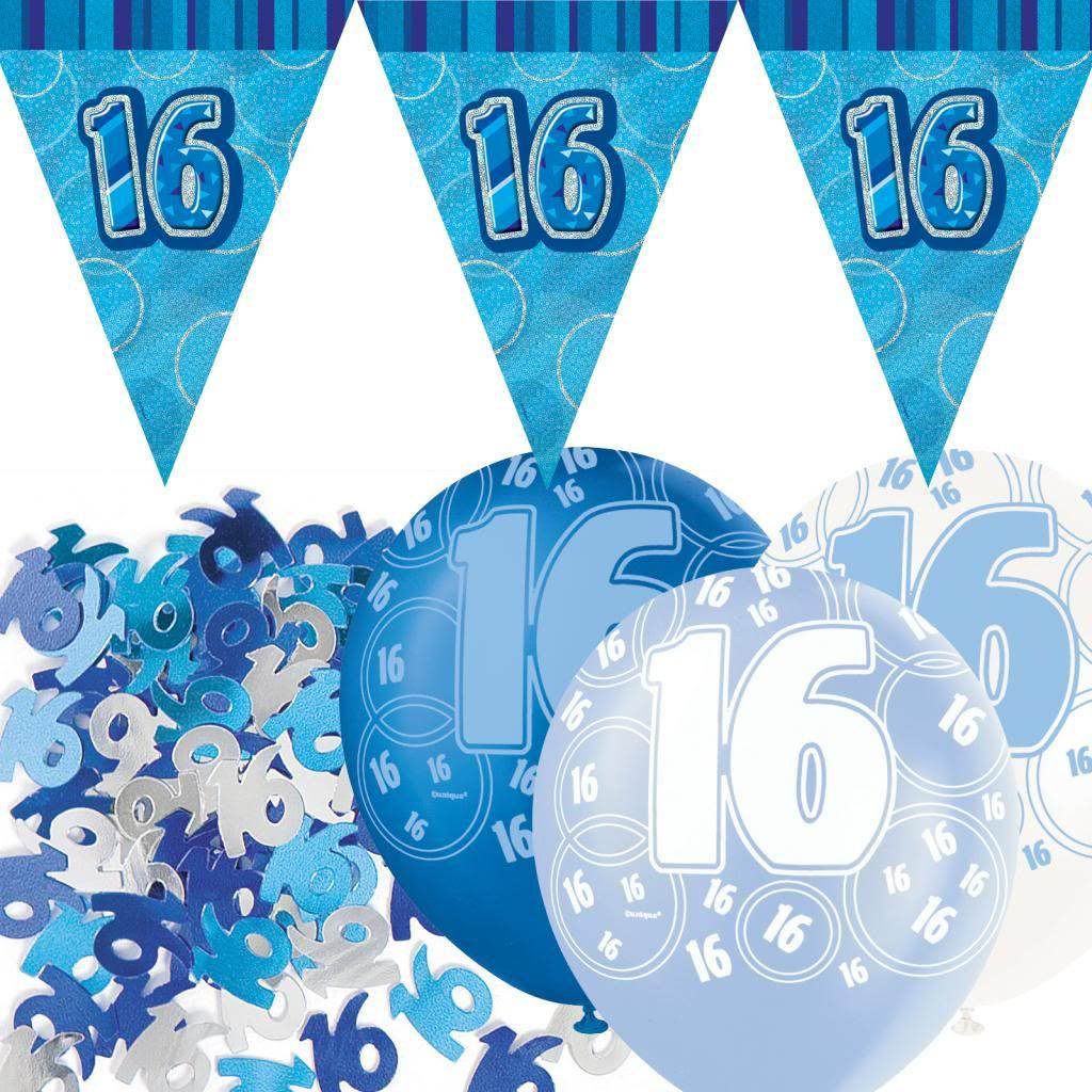 Blue Silver Glitz 16th Birthday Flag Banner Party