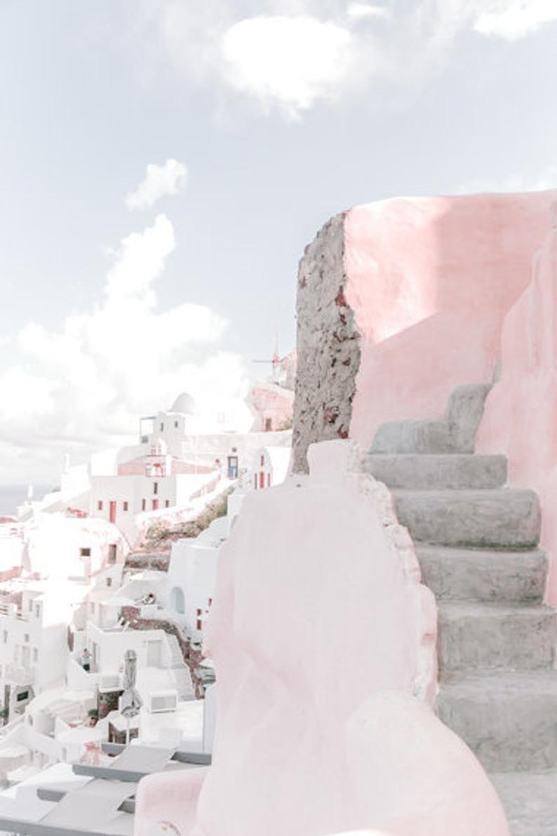 Greece Wall Art Prints // Pink Wall Art // Santori