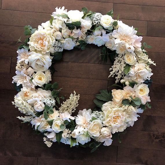 Wedding Wreath, Neutral Wreath For Front Door, Spring Wreath, Year Round  Wreath,