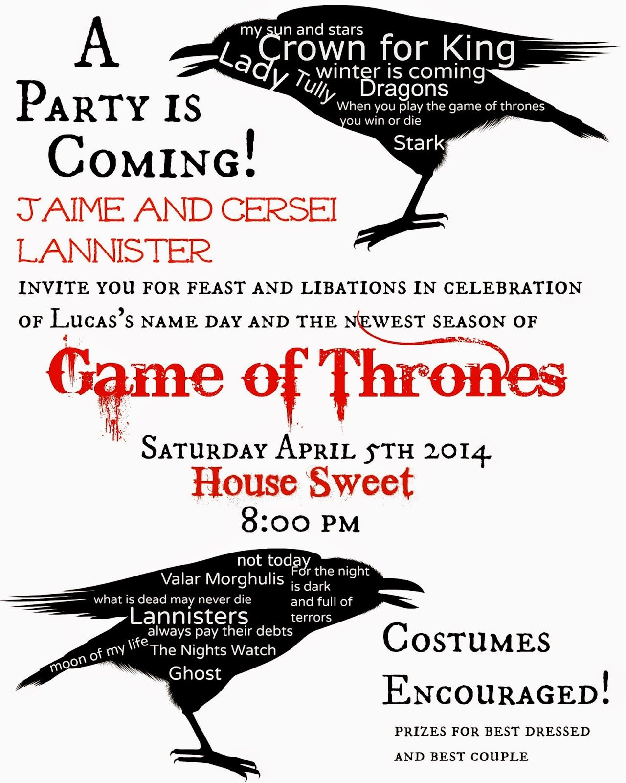 See Our Sweet Life One Whole Year In One Post Game Of Thrones Party Party Invitations Party Invite Template