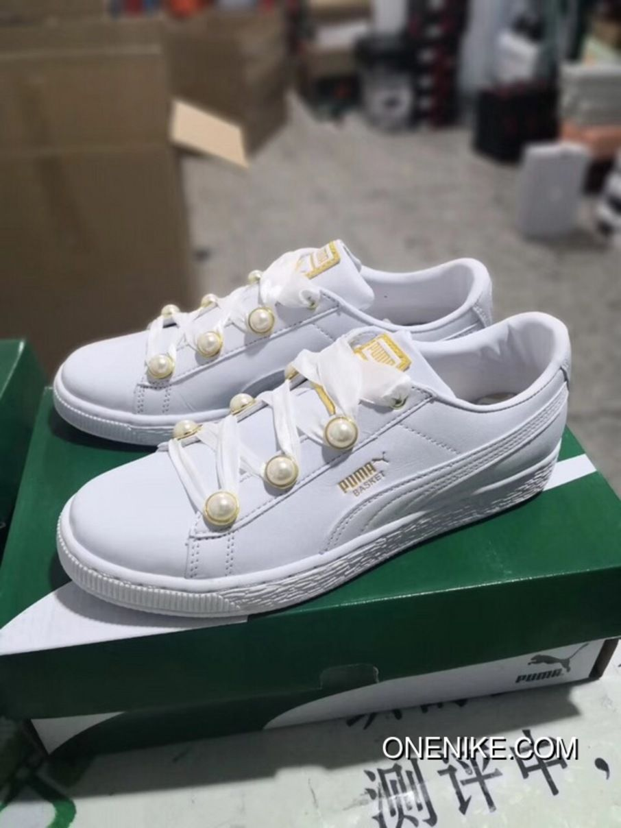 cc7a67da96e4 Puma Basket Bling 366732-04 Women s Sneakers Puma White-Metallic Gold Super  Deals