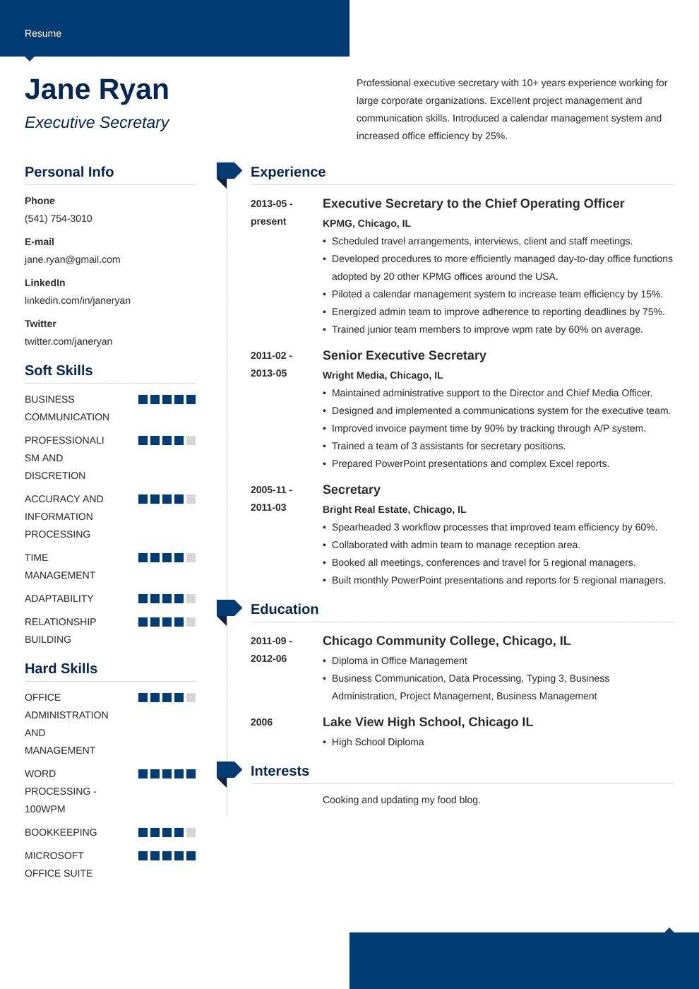 secretary resume template modern in 2020 Job resume