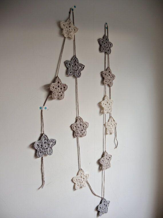 Nursery baby garland. Crochet star garland. Pastel baby\'s room ...