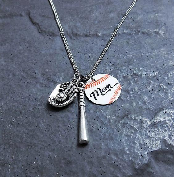 baseball mom necklace - baseball gifts - personalized team gift ...