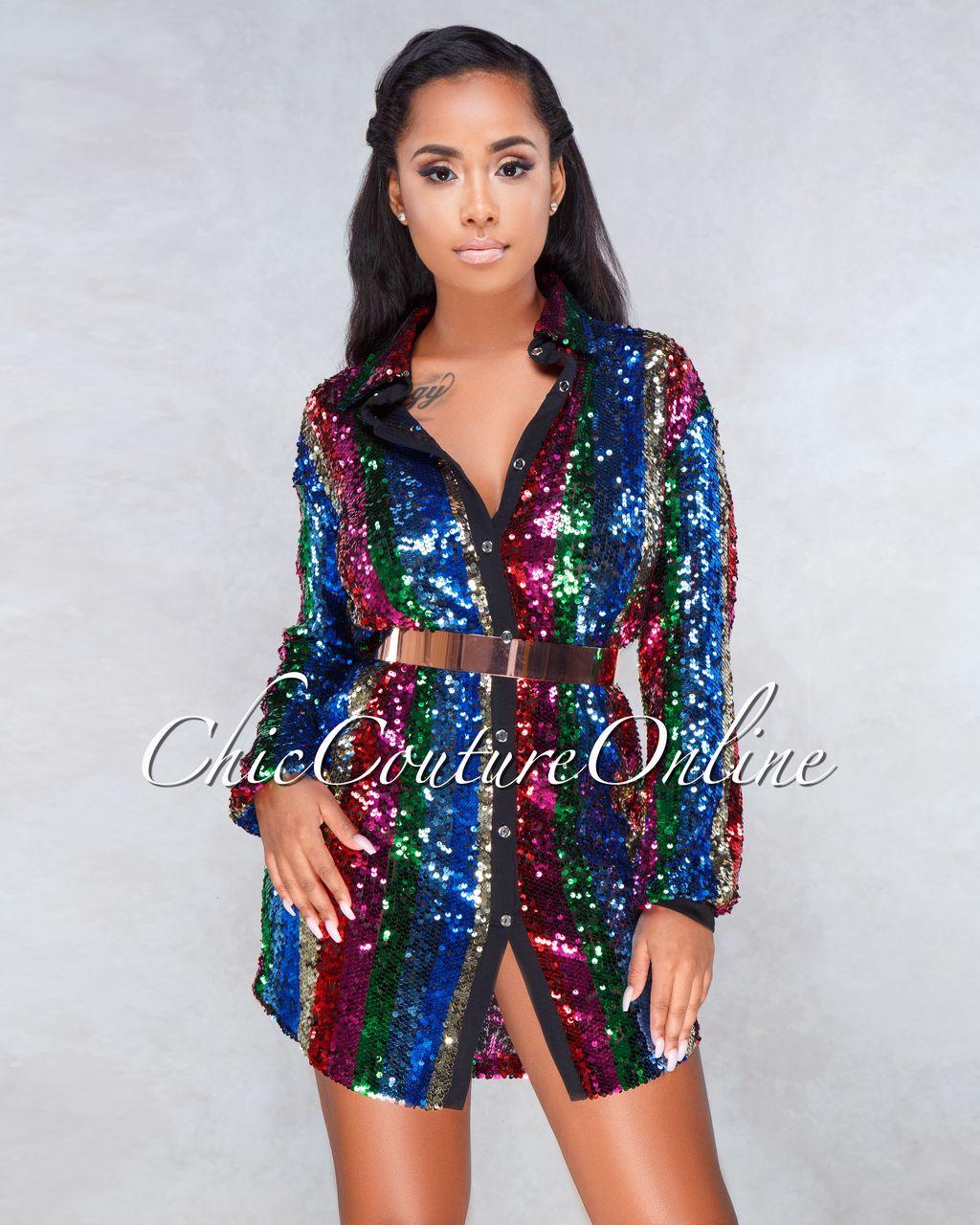 5257608ebc Verty Multi Color Sequin Stripes Shirt Dress | Clothing ~ Chic ...