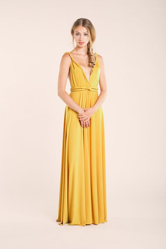 Mustard party dress yellow long dress mustard by mimetik on Etsy d2ad68340199