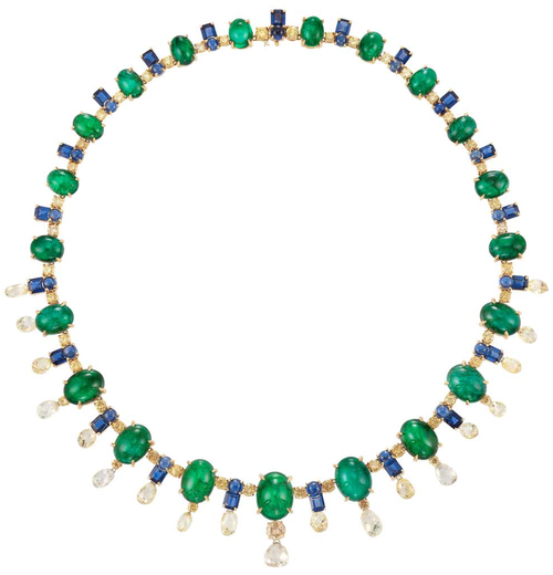 Gold, Cabochon Emerald and Sapphire, Sapphire, Diamond and Briolette Diamond Fringe Necklace