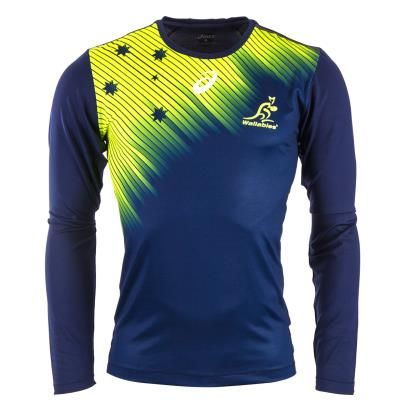 Australia Training Tee L S Indigo Blue 2016 Front Football Jersey Outfit Cycling Outfit Jersey Outfit