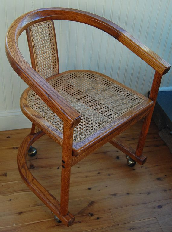 Vintage Caned Seat Wooden Oak Chair With Casters Dining