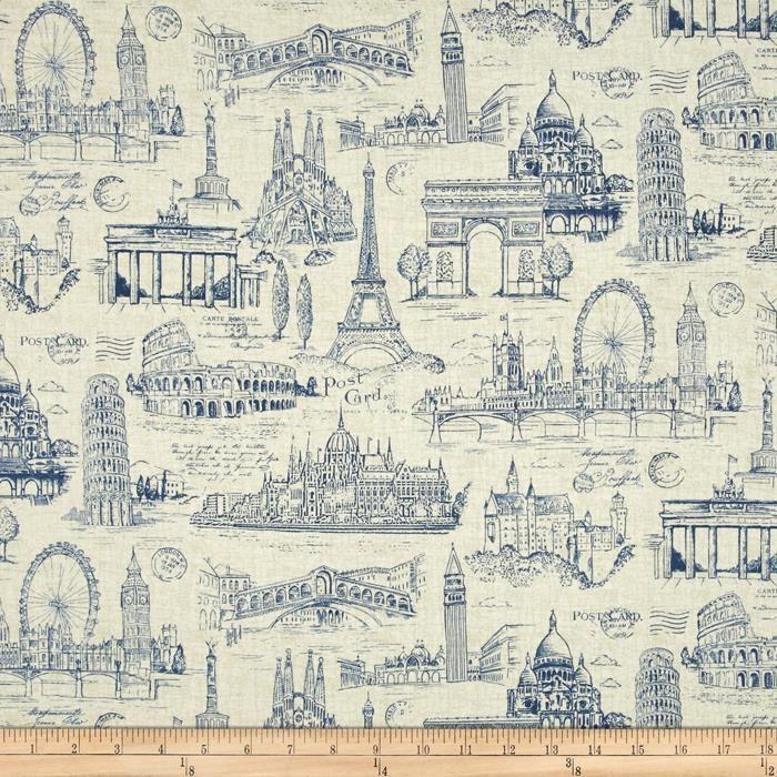 VINTAGE PARIS LAND MARK FAMOUS LANDMARKS MAP TAN COTTON FABRIC BTHY
